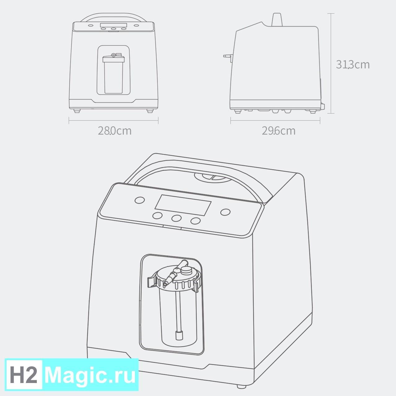 ПРЕДзаказ на Июнь на Ингалятор Водорода H2Magic HIG-600 PRO Бело-зелёный, компактный, лёгкий, стакан-увлажнитель