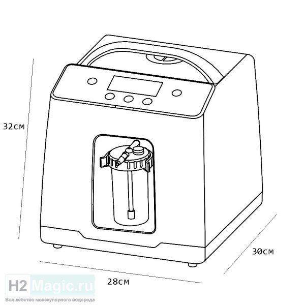 Генератор/Ингалятор Водорода H2Magic HIG-600 PRO +Nano-rod (компактный, лёгкий, стакан-увлажнитель) Бело-зелёный